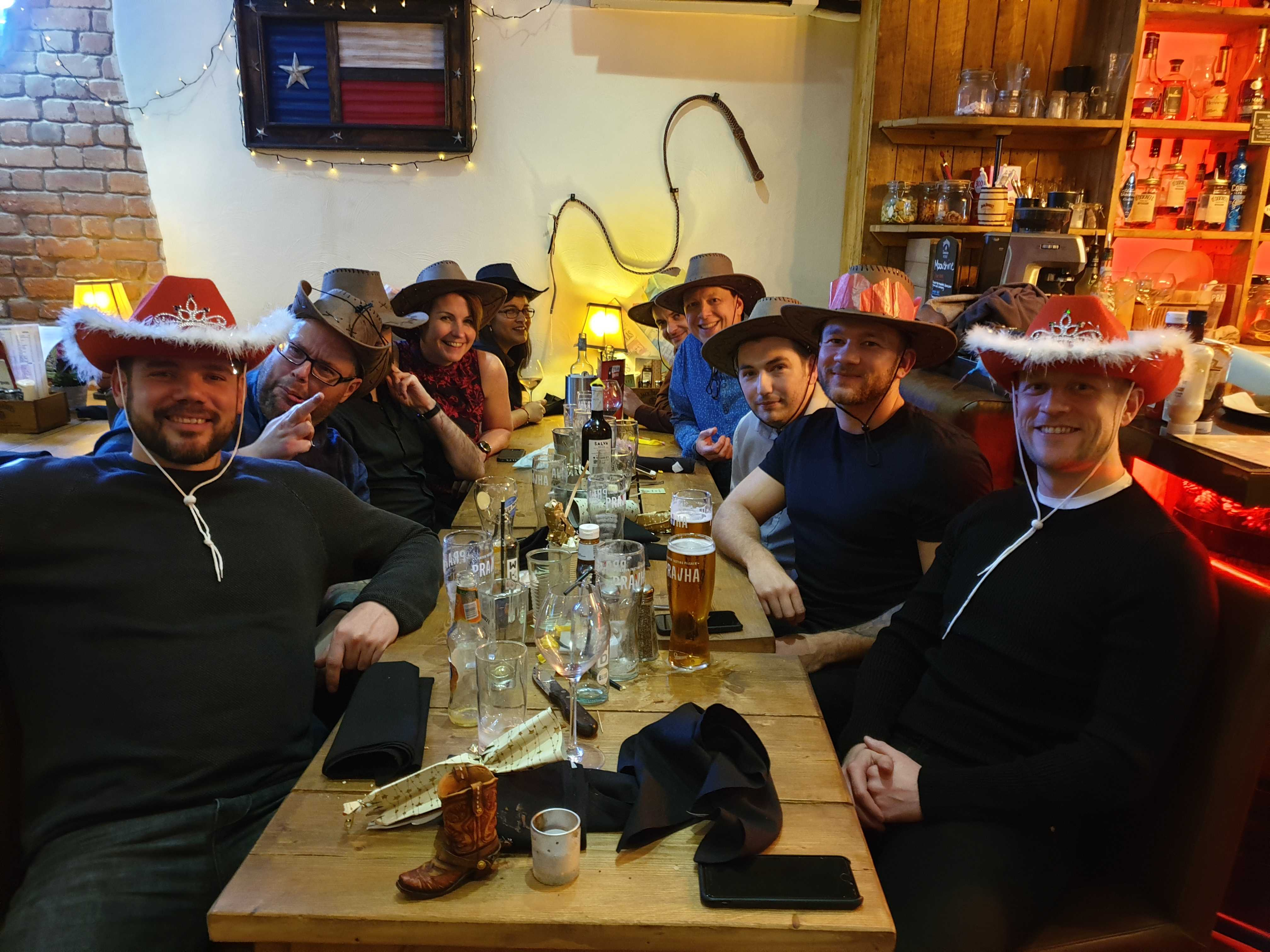 Gather Team celebrates Christmas in Cowboy hats